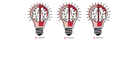 3 stylized lightbulb with a brain in each