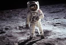 Astronaut Buzz Aldrin on the moon. NASA. Wikimedia Commons